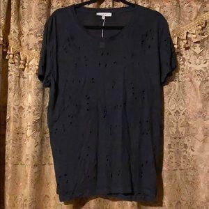 IRO black holey tee shirt, L
